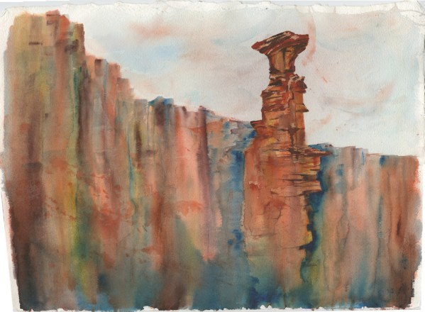 The Edge by Vandy Massey. 76 x 58 cm. Watercolour on hand made Two Rivers Paper