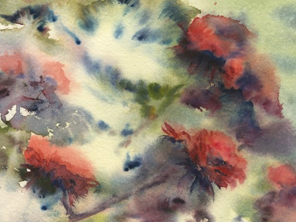 VMW00142 - Rhododendrons by Vandy Massey. Watercolour painting. 54 x 36 cm. Detail 2