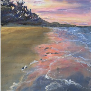 Memories Flood The Sand by Vandy Massey. 23 x 31 cm. Oil on Board.