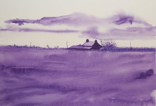 Morning Stillness - a monochrome watercolour painting