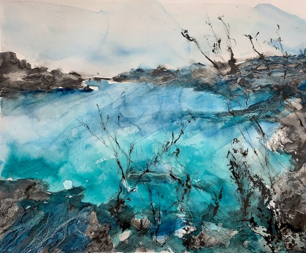 Contemplating Tides watercolour, liquid charcoal and ink painting by Vandy Massey