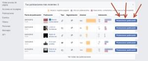 Botón para promocionar desde estadísticas en Facebook Ads