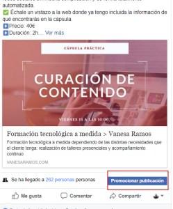 Botón para promocionar la publicación en Facebook Ads