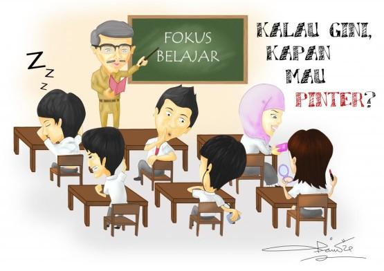 Gambar Kartun Anak Sekolah Belajar 555 392 Vaneshayu