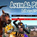 Animal Parade Poster featuring a variety of animals in front of the Sydney skyline with the time and date of the event superimposed