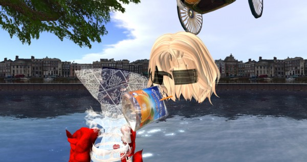 fragments of an avatar hover in space, while drinking a juice box, and set against the Amsterdam skyline
