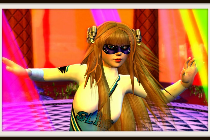 a guest at the Alt Avatar Ball at Club Morpheus at Alice in Cornelland wearing a cheerleader uniform and a mask and dancing.