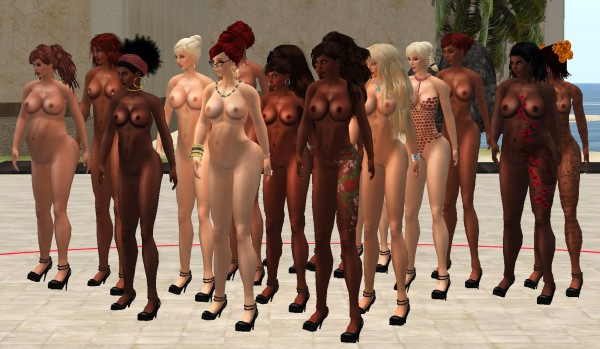 wide shot of naked avatars in a checkerboard of ethnicities standing in a large outdoor courtyard