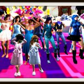 A large group of avatars, males in pink and females in blue, stand on the stage at Mikati Slade's Pico Pico LIfe at LEA19