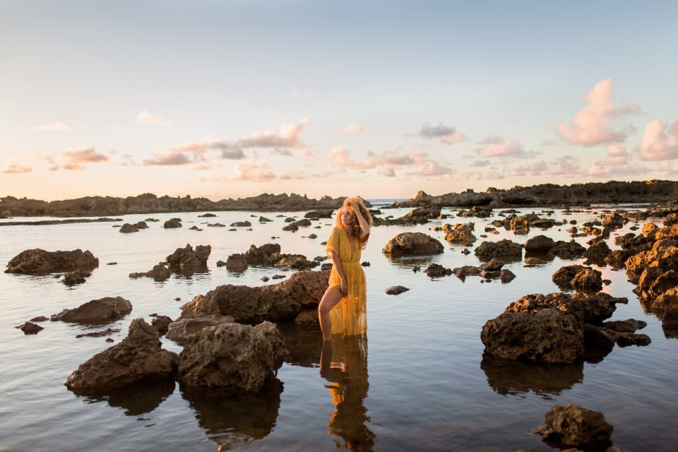 sunset gold glitter model session yellow lace romper