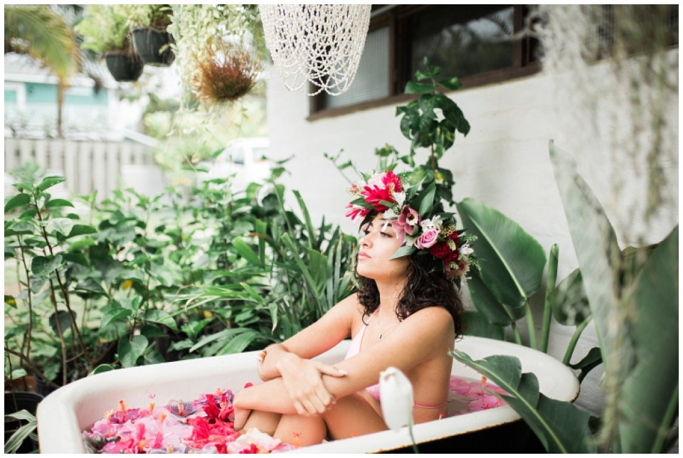 tropical Floral bath tub Shoot Vanessa Hicks Photography