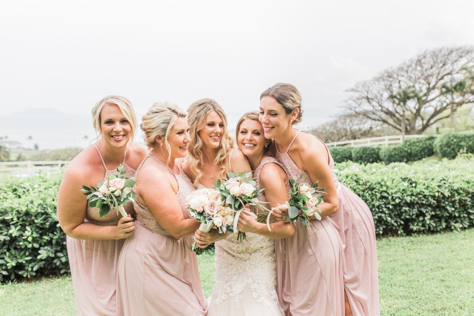 Kualoa Ranch Wedding with Bridesmaids