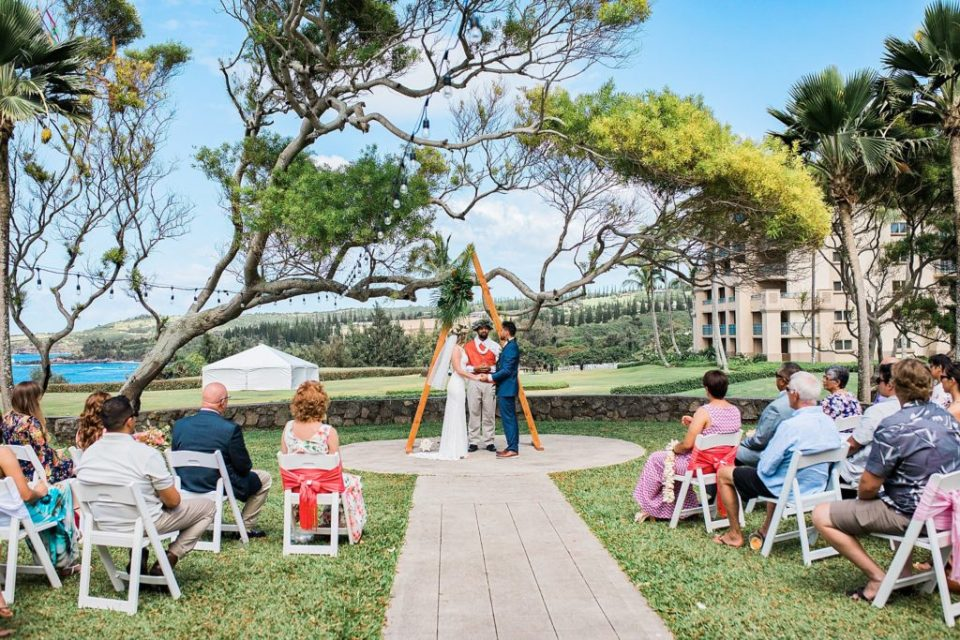 couple getting married at steeple house wedding venue in maui
