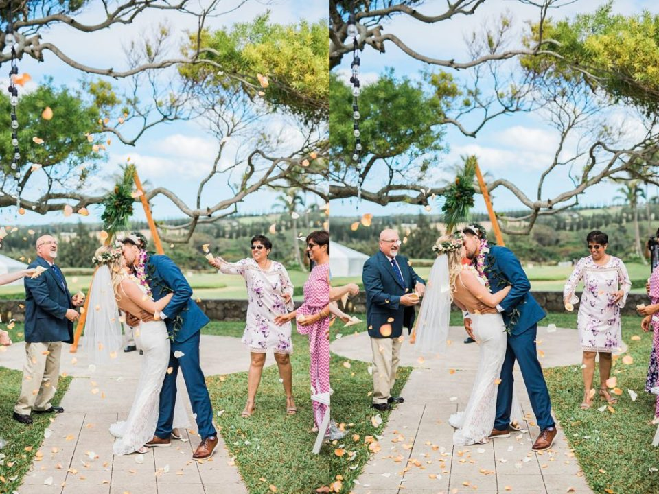 floral toss for wedding couple