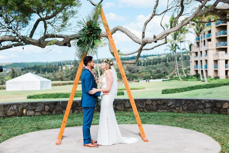 bride and groom portraits at steeple house wedding venue in maui