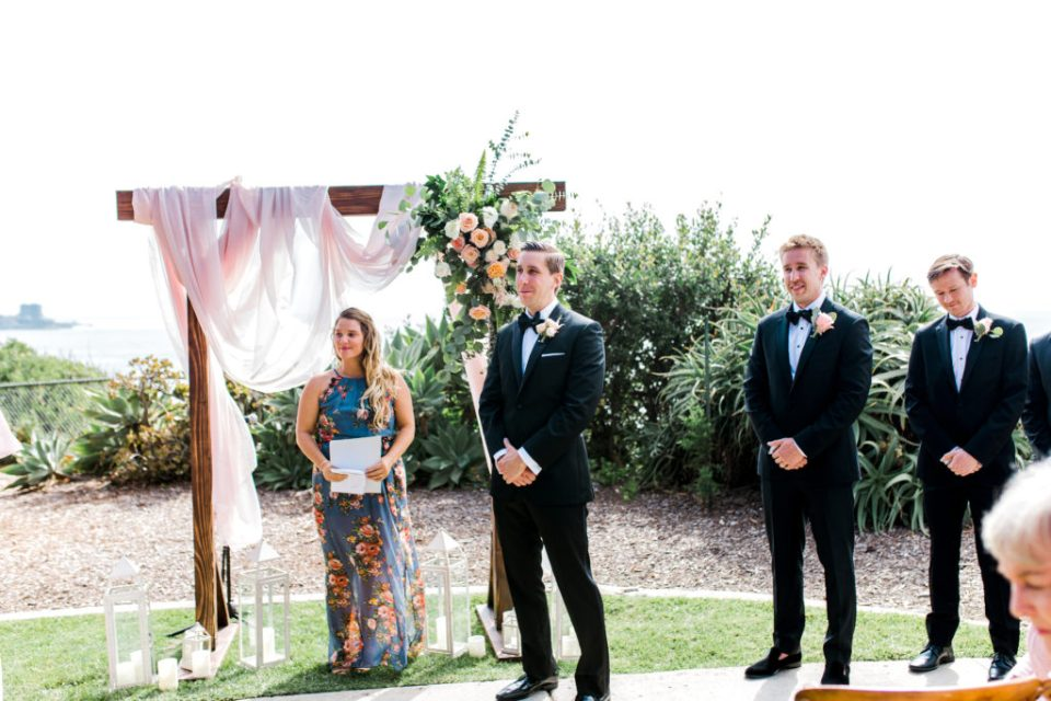 groom sees bride walking down the aisle at Martin Johnson House
