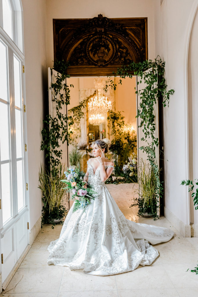 bridal portrait in hall with ivy