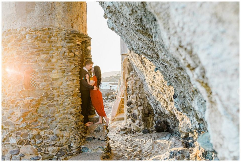 engagement session at laguna beach in red dress