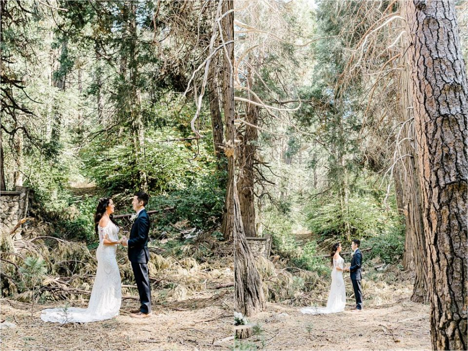 couple getting married at lake arrowhead