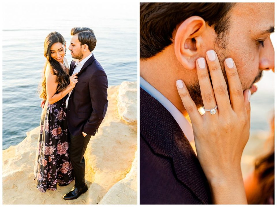 couple together at engagement session