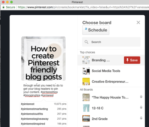 hashtag finder on Pinterest