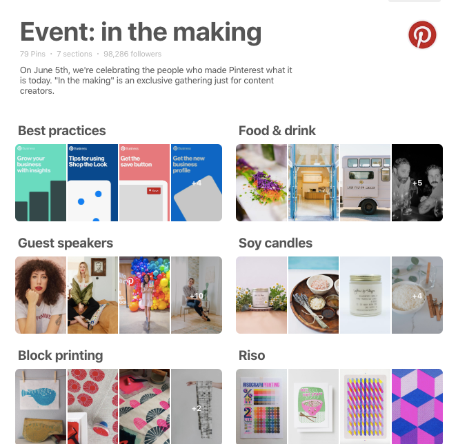 pinterest board from in the making conference