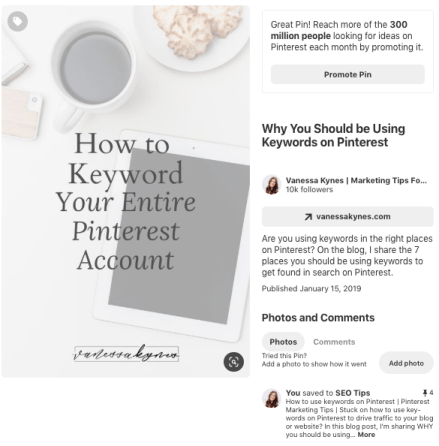 Pinterest graphic showing rich pin text- Vanessa Kynes