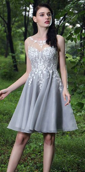edressit grey party cocktail dress with lace appliques