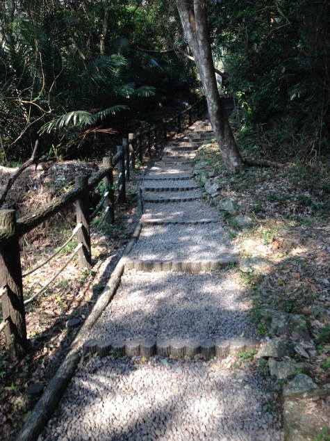 The less steep part of the path