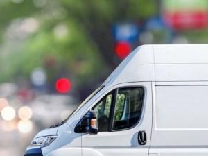 White van on road