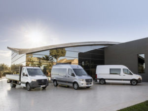 The new Mercedes-Benz Sprinter range will be available with FWD, RWD and AWD, as well as automatic and manual drivetrains and a mix of diesel and an electric version next year