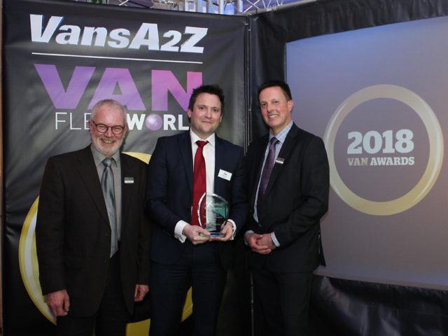 Henry Brace picks up the award for Best Service, Maintenance and Repair, with Neil McIntee (left) and Dan Gilkes (right)