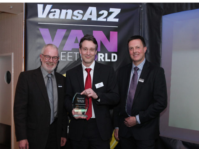 Iain Brooks picks up the award for Best Medium Panel Van, with Neil McIntee (left) and Dan Gilkes (right)