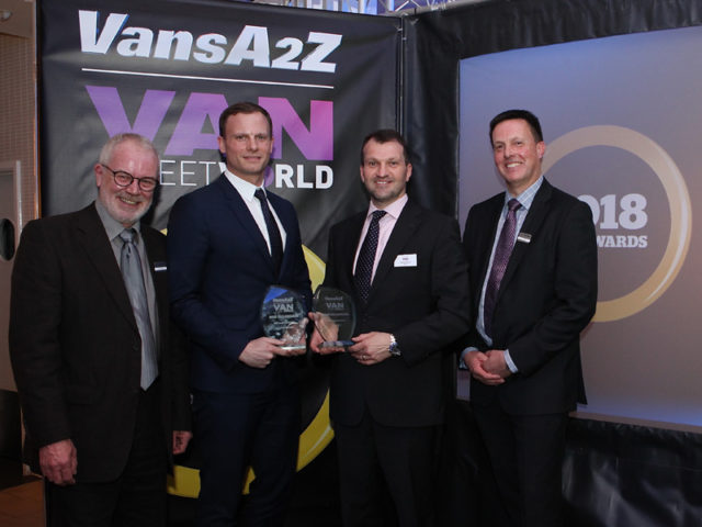 James Allit and Simon Wood pick up the joint award for Best Large Panel Van, with Neil McIntee (left) and Dan Gilkes (right)
