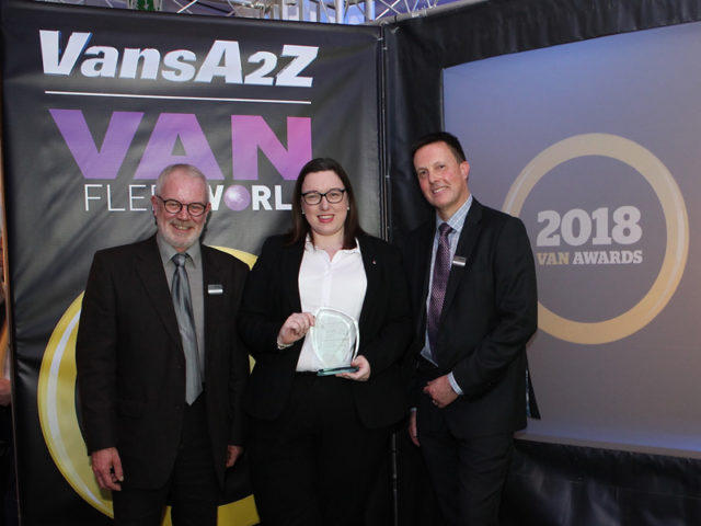 Kayleigh Robson picks up the award for Best Electric/Hybrid Van, with Neil McIntee (left) and Dan Gilkes (right)