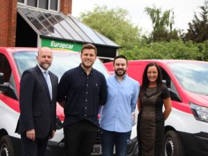 (L-R) Stuart Russell of Europcar UK with Barney Cook and Jordon BenBow of Eversmart Energy and Europcar's Christine Sanders