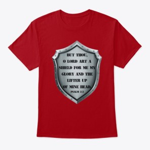 God Is My Shield Deep Red T-Shirt Front