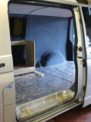 Veltrim carpet lining fitted on with the campervan furniture