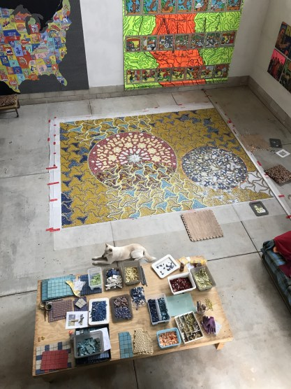 Brailsford's collaboration with Wick Alexander and Doris Bitter for the California Center for the Arts entry door mosaic installed Dec. 5th. 2017. Photo courtesy of Robin Brailsford.