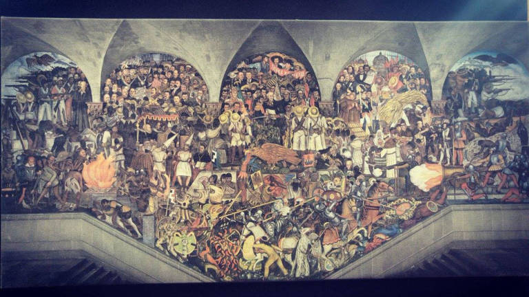 """Pintura de la independencia Diego Rivera """"Epopeya del pueblo mexicano""""."""