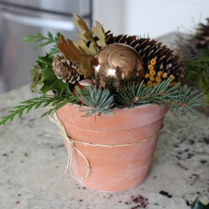Christmas Terra Cotta Pot Arrangement