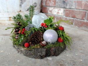Christmas Platter Silver and Red Berries