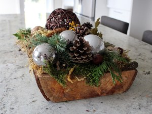 Wood Slab Christmas Platter Arrangement
