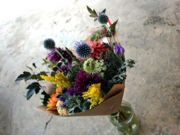 Summertime Hand-Tie Bouquet with dahlias and globe thistle