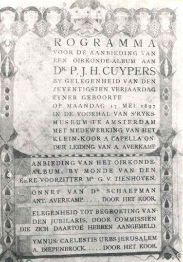 Programmablad bij het aanbieden van een oorkonde voor de 70ste verjaardag van Pierre Cuypers, met onder meer de hymne Caelestis urbs Jeruzalem van Alpons Diepenbrock (1897). Cuypershuis adlib 0483a.
