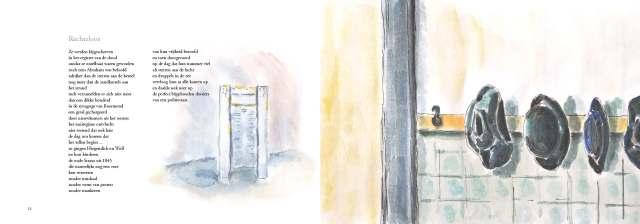 Een van de beeldgedichten uit Wikken en wegen met aquarellen van Annelei Engelberts en tekst van Bernadette van Hellenberg Hubar (2014)