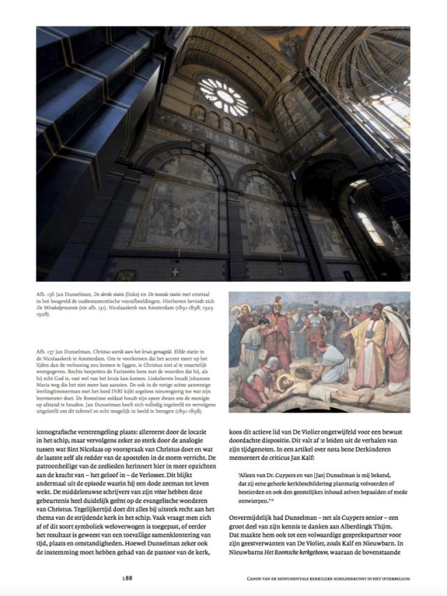 Jan Dunselman en de geschilderde uitmonstering van de Nicolaaskerk te Amsterdam. Uit 'De genade van de steiger', p. 188. Screenshot bvhh.nu 2018.