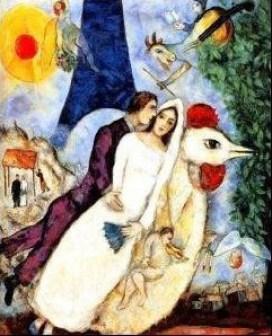 Marc Chagall, Fiancees de la Tour Eiffel.
