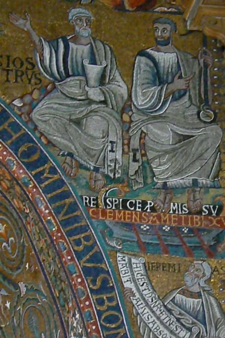 Clemens in de Legenda aurea: hier gezeten naast Petrus, terwijl hij wijst op het anker van zijn martelaarschap.