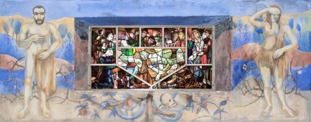 Joep Nicolas in Asselt, centrale ruimte, Adam en Eva met raam met grafaflegging Christus